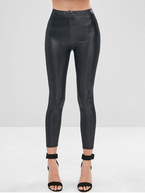 womens PU Leather Skinny Pants - BLACK M Mobile