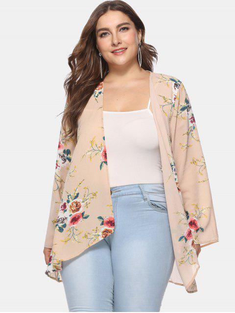 affordable Flower Print Plus Size Tunic Cardigan - DEEP PEACH 1X Mobile