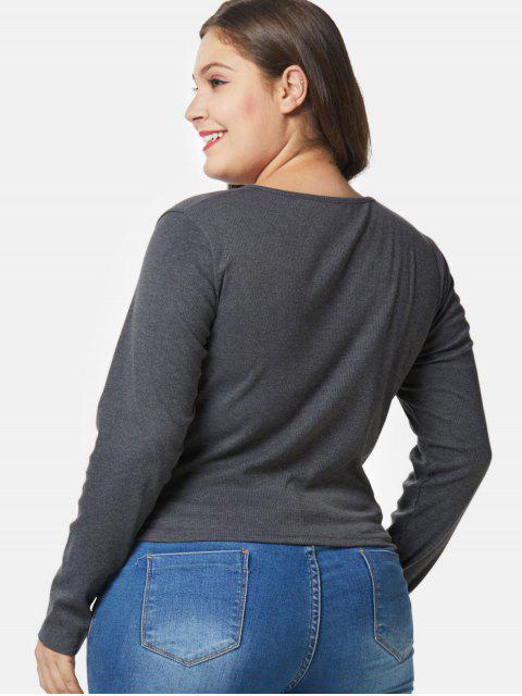 fancy Long Sleeve Plus Size Twist Tee - DARK GRAY 4X Mobile
