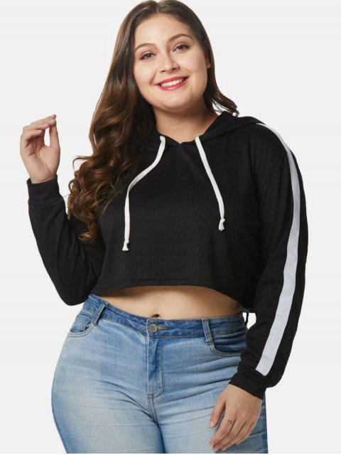 womens Contrast Plus Size Crop Hoodie - BLACK 1X Mobile
