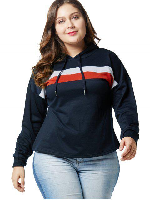 Drop Shoulder Plus Size Color Block Hoodie - Azul de Medianoche 4X Mobile