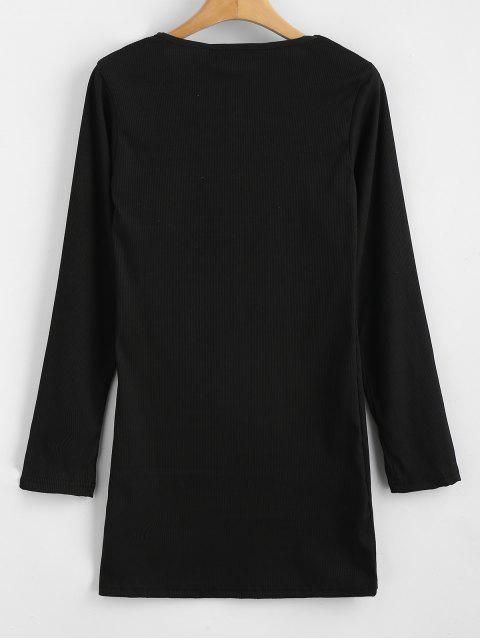shop Ribbed Long Sleeve Bodycon Dress - BLACK M Mobile