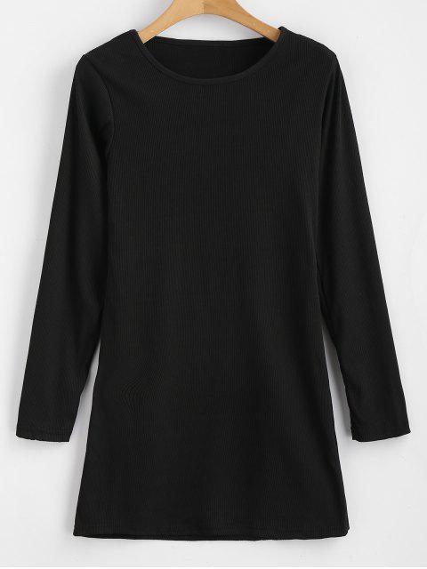 Langärmliges, figurbetontes Kleid mit Rippenstrick - Schwarz XL Mobile
