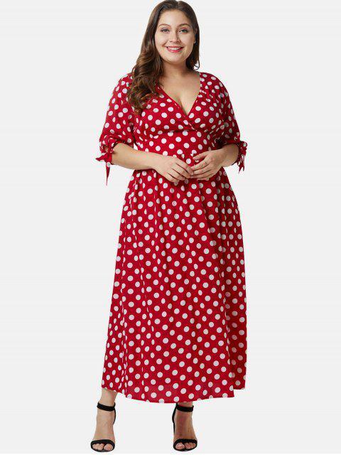 trendy Plunge Plus Size Polka Dot Maxi Dress - LAVA RED 4X Mobile