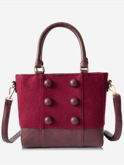 fashion Circle Button Design Suede Crossbody Bag - RED WINE  Mobile