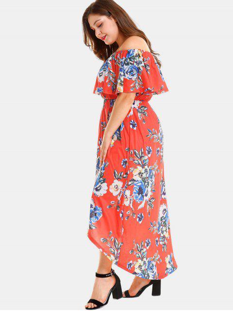 sale Plus Size Floral Slit Off Shoulder Dress - RED 4X Mobile