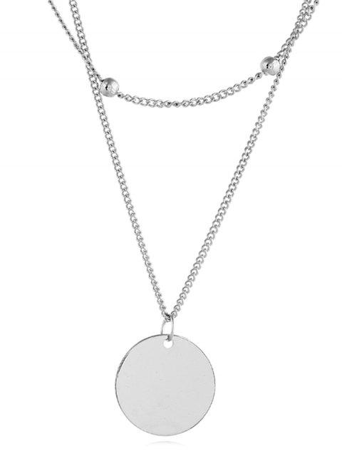 new Simple Coin Shape Chain Necklace - SILVER  Mobile