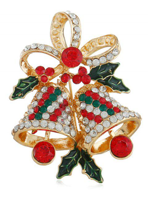 outfits Artificial Crystal Christmas Bell Brooch - GOLD  Mobile