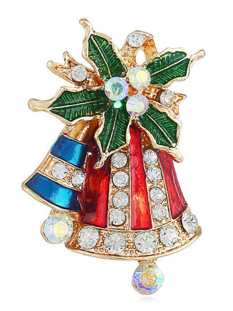 latest Rhinestone Inlaid Christmas Bell Brooch - GOLD  Mobile