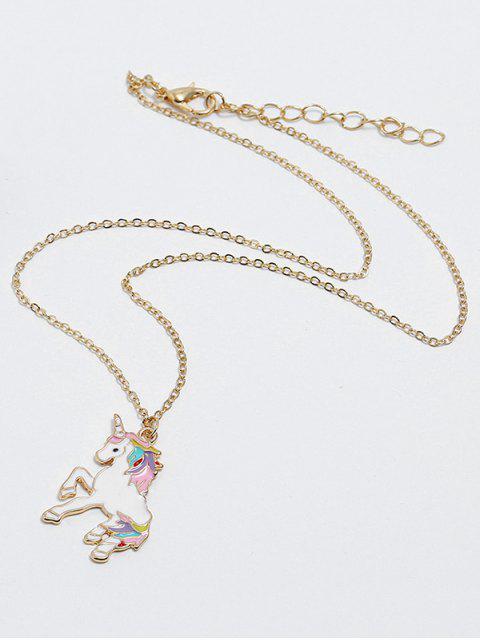 Сплав Ожерелье Форма единорога - Золотой  Mobile