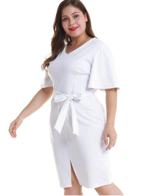 ladies Plus Size Belted Slit Fitted Dress - WHITE 3X Mobile