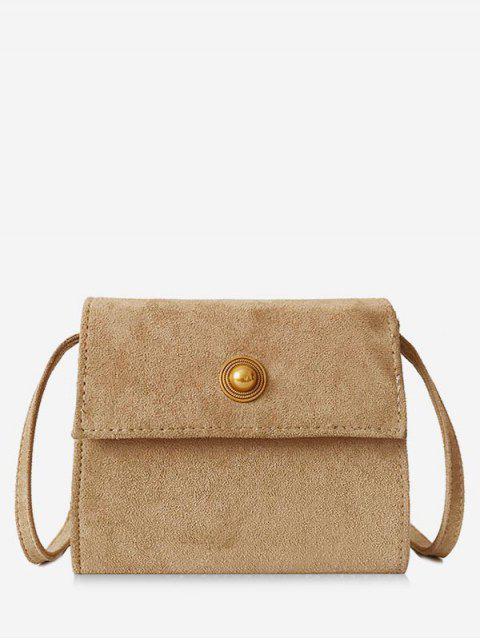 lady Mini Scrub PU Leather Crossbody Bag - LIGHT KHAKI  Mobile