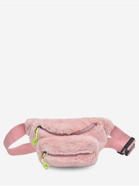 outfits Double Zipper Design Fluffy Leather Crossbody Bag - LIGHT PINK  Mobile