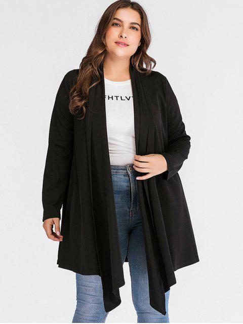 chic Ribbed Shawl Collar Plus Size Coat - BLACK 2X Mobile