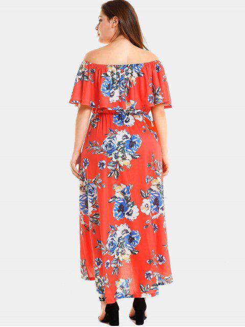 buy Plus Size Floral Slit Off Shoulder Dress - RED 3X Mobile