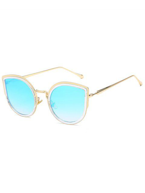 outfits Retro Metal Frame Catty Sunglasses - CRYSTAL BLUE  Mobile
