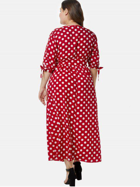 shop Plunge Plus Size Polka Dot Maxi Dress - LAVA RED 2X Mobile