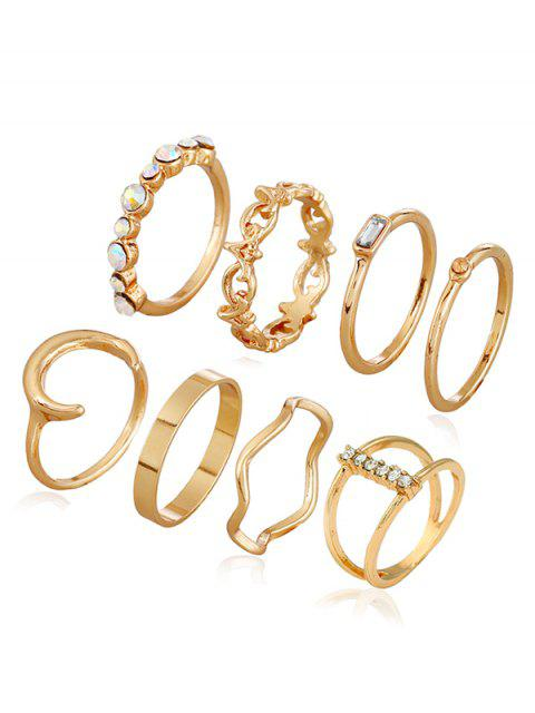fancy Faux Crystal Decoration Alloy Rings - GOLD  Mobile
