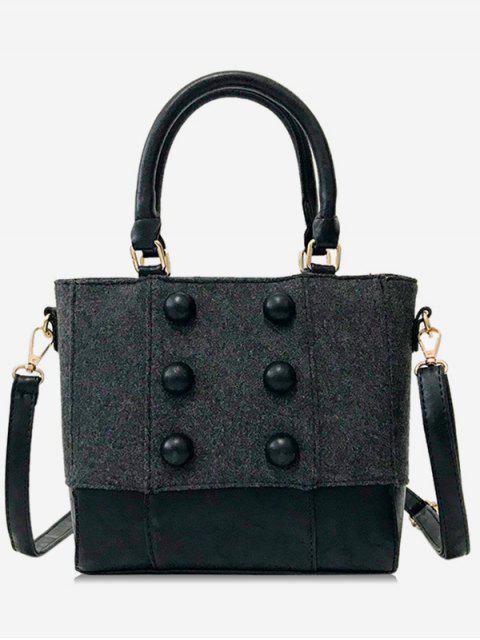 affordable Circle Button Design Suede Crossbody Bag - BLACK  Mobile