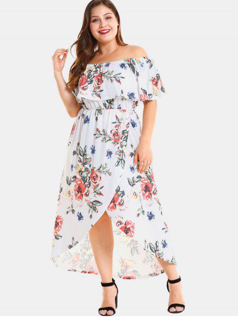 hot Plus Size Floral Slit Off Shoulder Dress - WHITE 1X Mobile