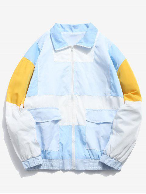 affordable Embroidery Color Block Patchwork Jacket - SEA BLUE L Mobile