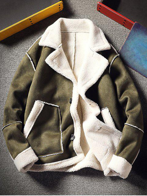 chic Color Block Fleece Casual Coat - ARMY GREEN S Mobile