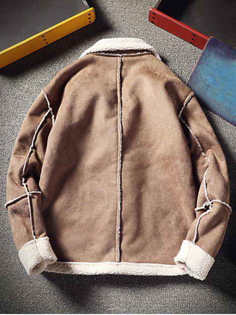 hot Color Block Fleece Casual Coat - LIGHT KHAKI XS Mobile