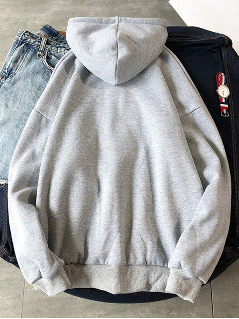 best Chinese Printed Pouch Pocket Hoodie - LIGHT GRAY XL Mobile
