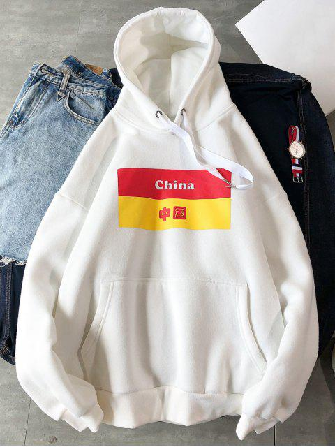 online Chinese Printed Pouch Pocket Hoodie - WHITE XL Mobile