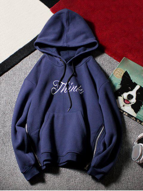 chic Side Zip Letter Print Pouch Pocket Drawstring Hoodie - CADETBLUE L Mobile