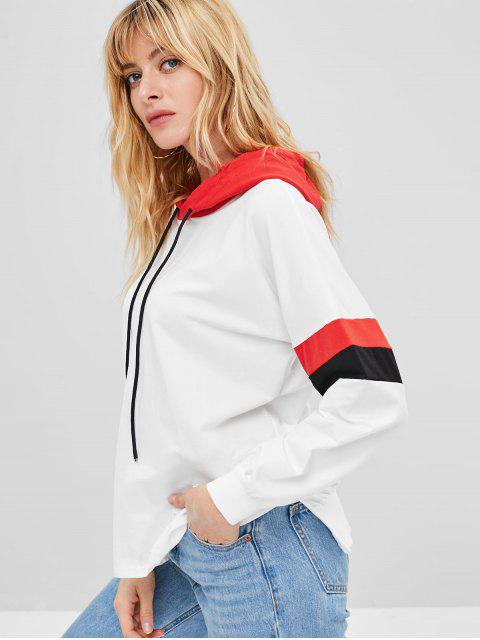 women Striped Sleeve Pullover Jersey Hoodie - WHITE ONE SIZE Mobile