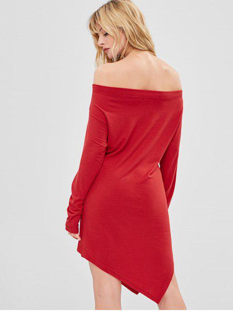 buy Off Shoulder Graphic Christmas Asymmetrical Dress - LAVA RED 2XL Mobile