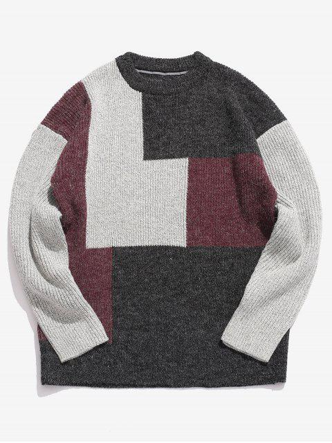 online Color Block Round Collar Sweater - BLACK XL Mobile