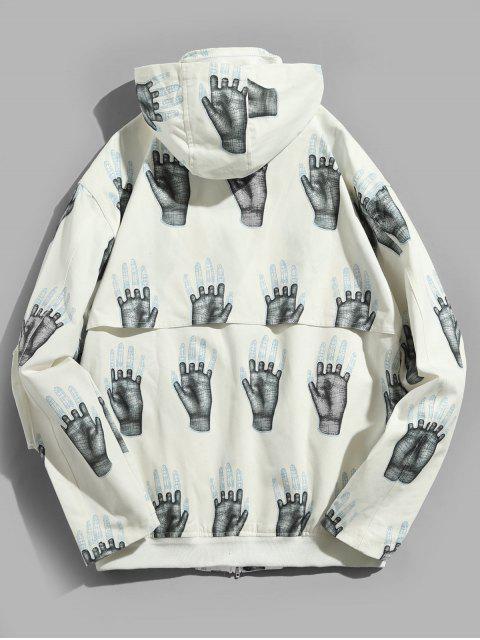 affordable Hands Print Pockets Hidden Hat Jacket - WHITE XL Mobile