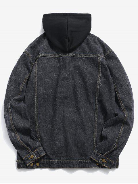 ladies Loose Fitting Detachable Hat Denim Jacket - BLACK S Mobile