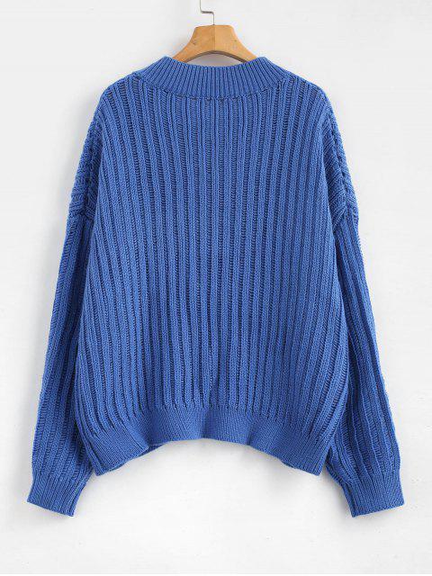 ZAFUL Pull Surdimensionné à Col V - Bleu Bleuet Taille Unique Mobile