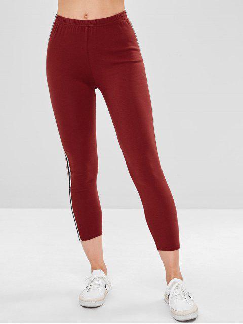 latest Stripe Contrast Elastic Waist Leggings - RED WINE L Mobile