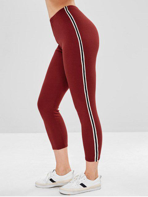 unique Stripe Contrast Elastic Waist Leggings - RED WINE M Mobile