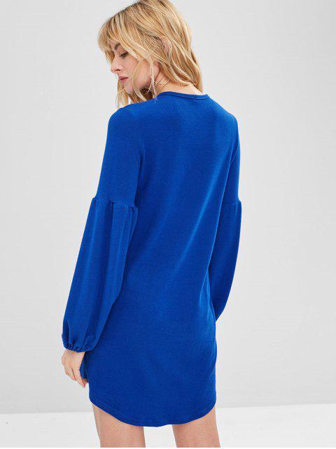 Mini Robe Décontractée à Manches Lanternes - Bleu M Mobile