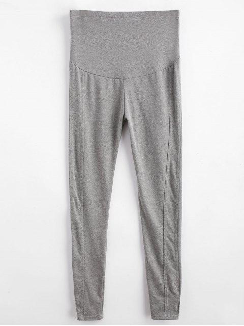 Hoch taillierte Slit Skinny Leggings - Grau XL Mobile