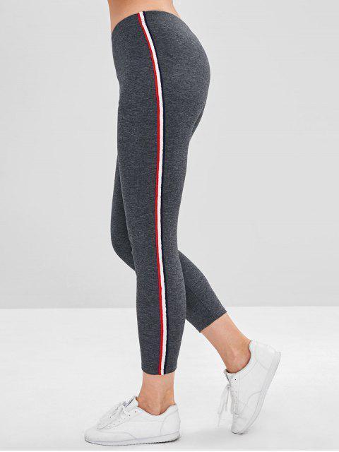 trendy Stripe Contrast Elastic Waist Leggings - GRAY L Mobile
