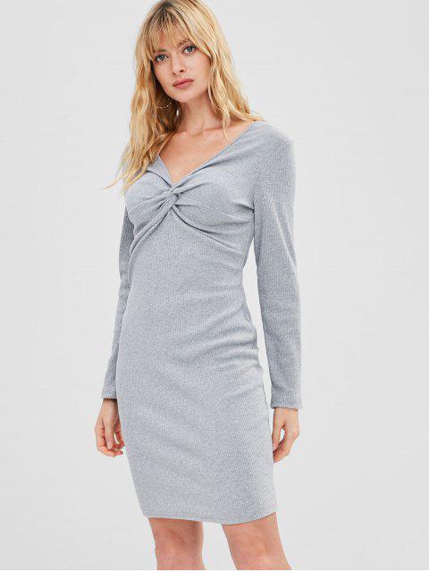 Twist geripptes, figurbetontes Kleid - Hellgrau L Mobile