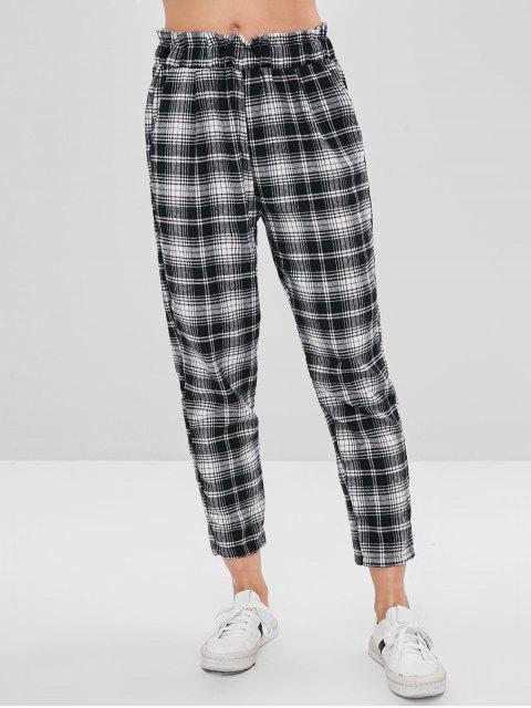 Pantalones a cuadros de talle alto - Multicolor S Mobile