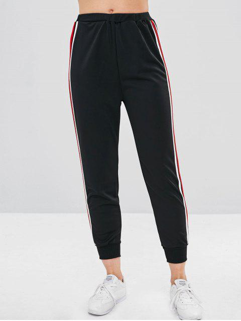 affordable High Waisted Striped Sports Pants - BLACK S Mobile
