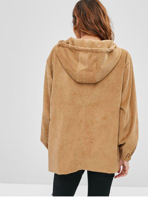 outfits Snap Buttons Corduroy Front Pocket Hoodie - LIGHT BROWN S Mobile