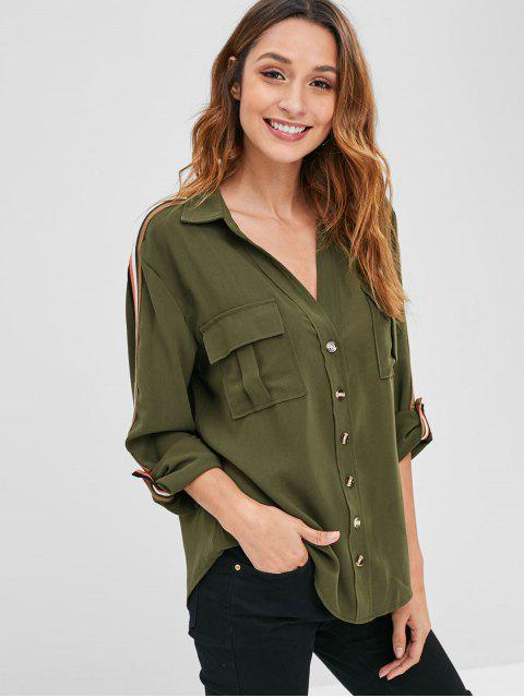 shops Striped Roll Tab Sleeve Shirt - ARMY GREEN S Mobile