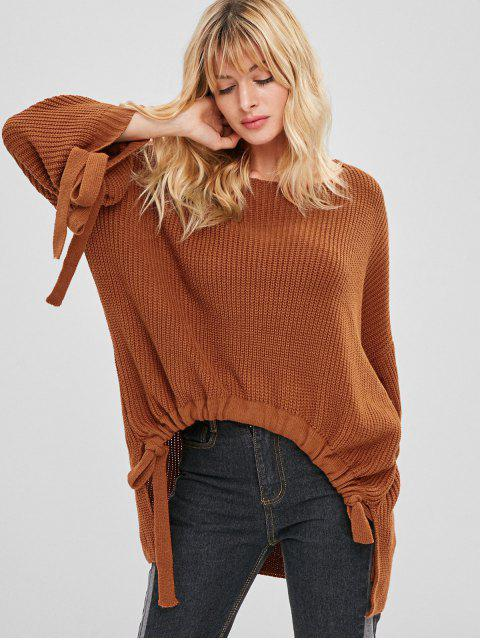 online ZAFUL Oversized High Low Tunic Sweater - BROWN ONE SIZE Mobile