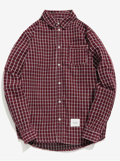 Chemise à carreaux à poches patchwork - Rouge Vineux M Mobile