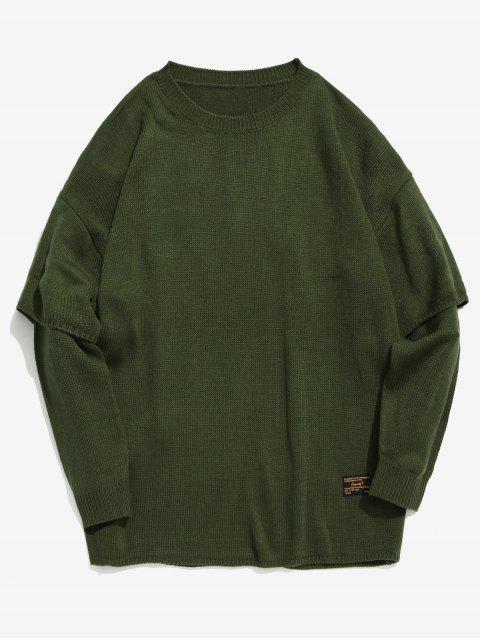 Solide faux faux deux pièces en tricot - Vert Armée  L Mobile