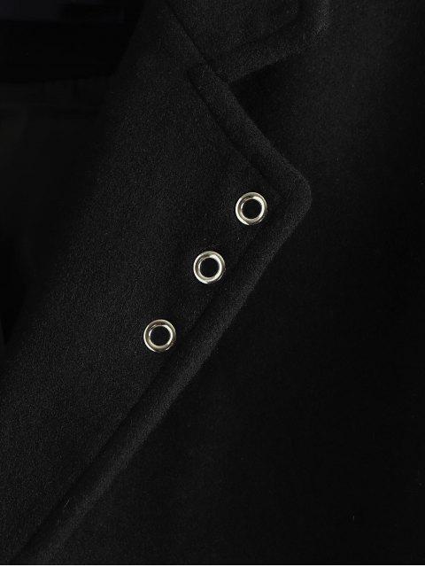 latest Single Breast Flap Pocket Overcoat - BLACK XS Mobile